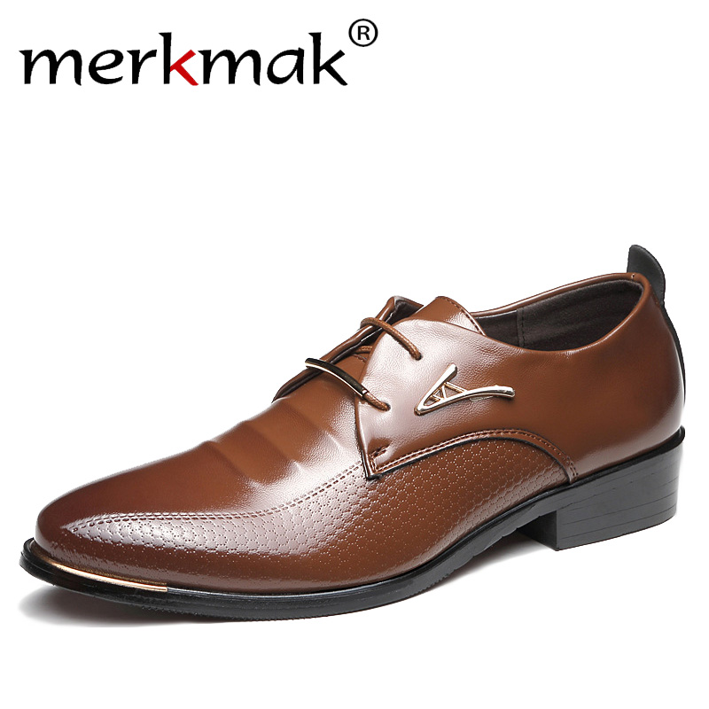 Merkmak Men Dress Shoes Fashion Pointed Toe Lace Up Men's Business Casual Shoes Brown Black Leather Oxfords Flats Big Size 37-48 new fashion men dress shoes men s business pu leather shoes pointed toe lace up male casual shoes brown black leather oxfords