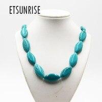 ETSUNRISE handwork natural stone TQ horse eyes beads fashion jewelry Necklace