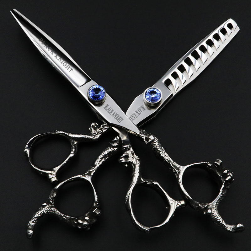 BLACK KNIGHT 6 Inch Hair Scissors Hairdressing Professional Cutting and Thinning Shears for barber salon 10/30Teeth 6 inch 32 teeth hairdressing thinning hair scissor professional with leather bag barber shop hairdresser shears tools hk632vyb