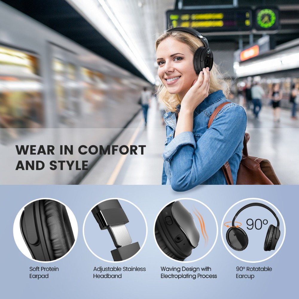 Mpow H5 Foldable Noise Cancelling Headphones Super Quality Sound HiFi Stereo Over Ear Headsets Portable Wireless Headphones-in Phone Earphones & Headphones from Consumer Electronics    2