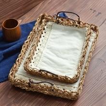 Натуральный сизаль тканые веревка диск, коробка для хранения уши сизаль настольный десерт печенье лоток zakka стиль picnc bakset дома органайзера