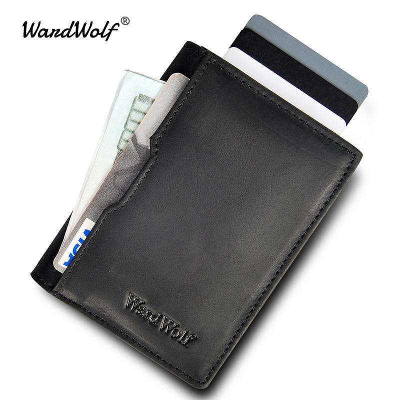 100% QualitäT Wardwolf Vintage Geldbörse Für Herren Aus Echtem Leder Männer Brieftaschen Geldbörse Karte Halter Dünne Rfid Brieftasche Rindsleder Dünne Kleine Marke Brieftasche
