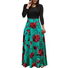 New European&American Style Autumn&Winter Print Long Sleeve O-Neck Dress Fashion Casual Slimming Elegant Party Long Dress