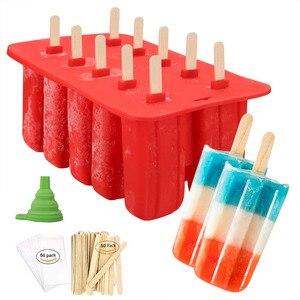 LMETJMA Picolé Fabricante de Moldes de Silicone de Grau Alimentício Congelado Ice Cream Pop Mold com 50 Picolé Varas De Madeira e 50 Sacos KC0252