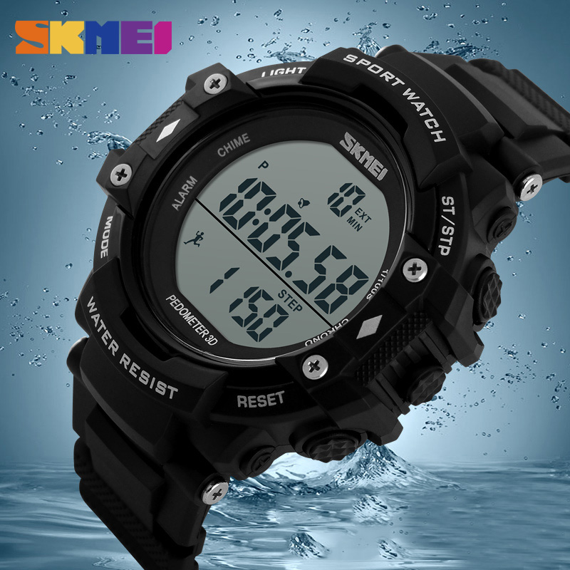 SKMEI Brand 1128 Men Digital Sport Watch Waterproof Outdoor LCD Digital Display Pedometer Chronograph Watches relogio masculino