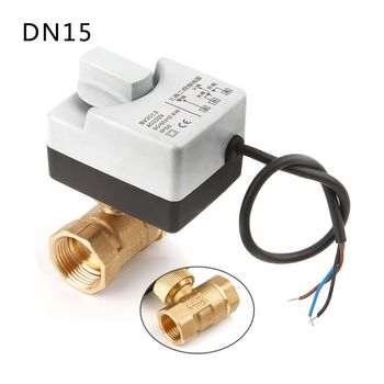 AC220V DN15 DN20 DN25 2 Way 3 Wires Brass Motorized Ball Valve Electric Actuato With Manual Switch
