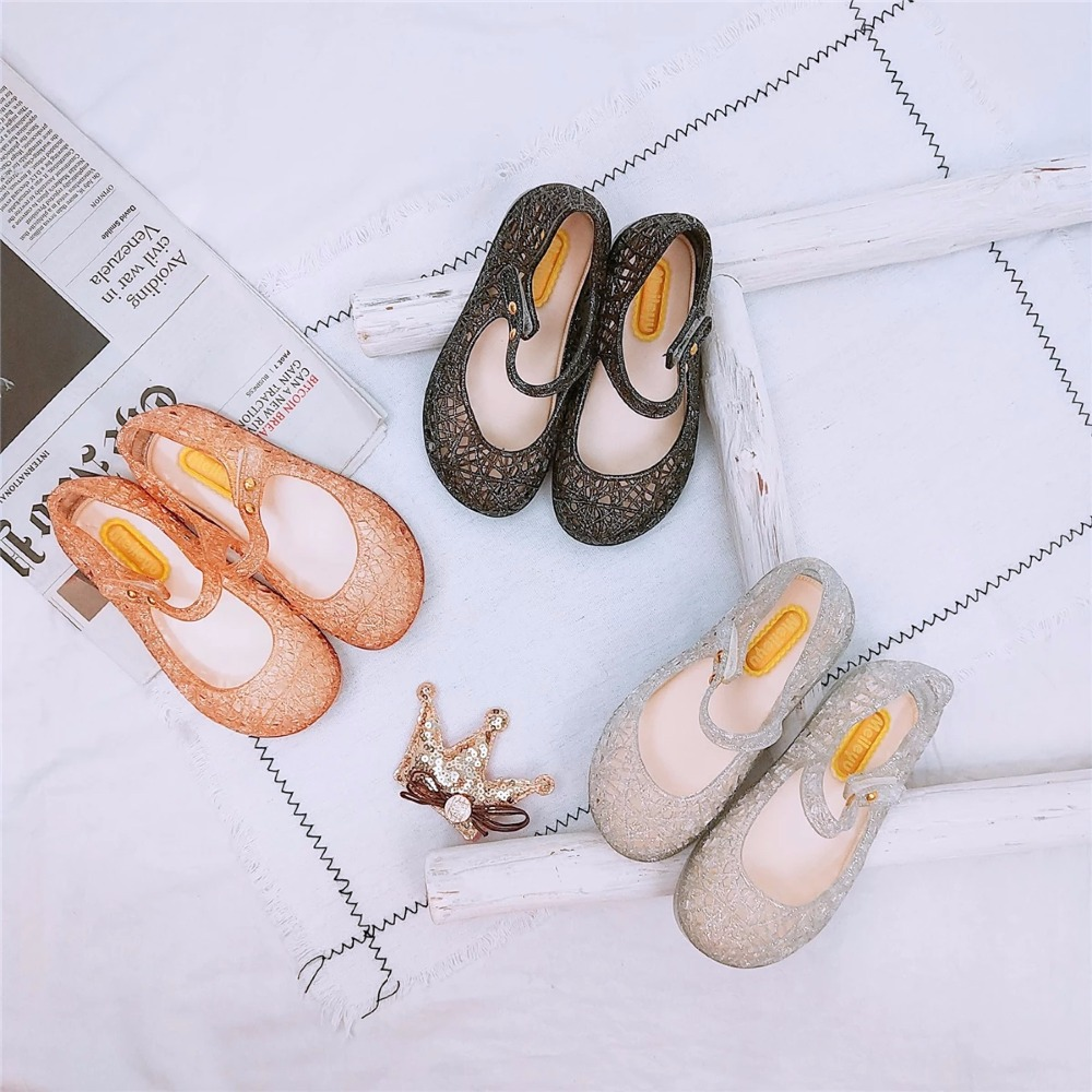 Mini Melissa Girl Jelly Sandals 2018 Summer Children Hollow Shoes Breathable Children Sandals Jelly Girls Sandals 15-18CM
