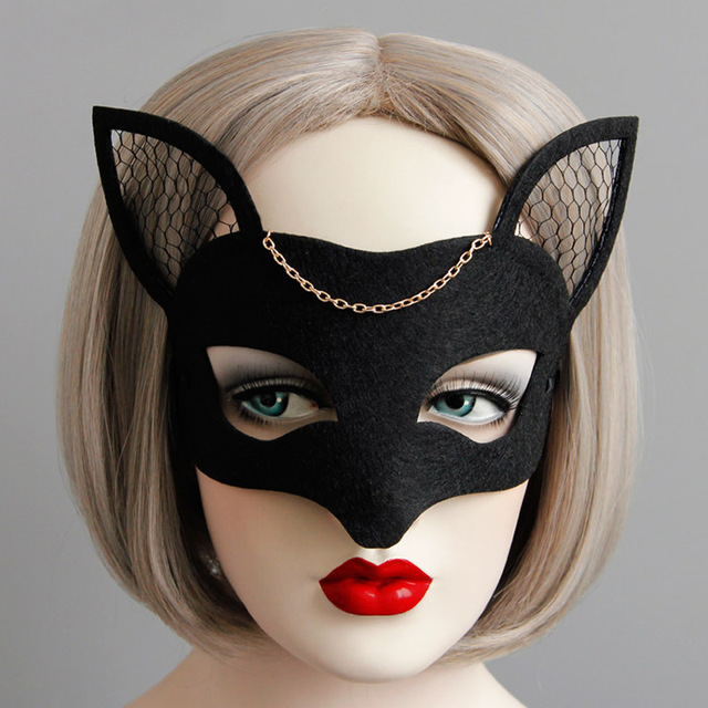 Woman Fox Mesh Felt Mask Black Masquerade Mask Women Dance Cosplay