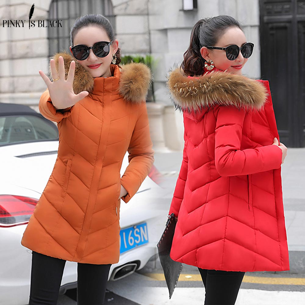 PinkyIsBlack winter coat women winter jacket women 2018 Fashion female coat Hooded Slim Outwear woman thicken long   parkas   jacket