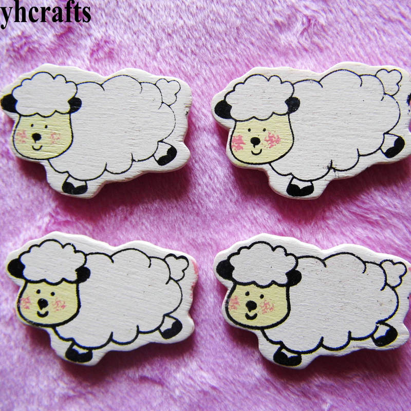 100pcs/lot,white Sheep Wood Stickers,easter Spring Crafts.kids Room Decoration Diy Toys,craft Material,scrapbooking Kit Oem Classic Toys