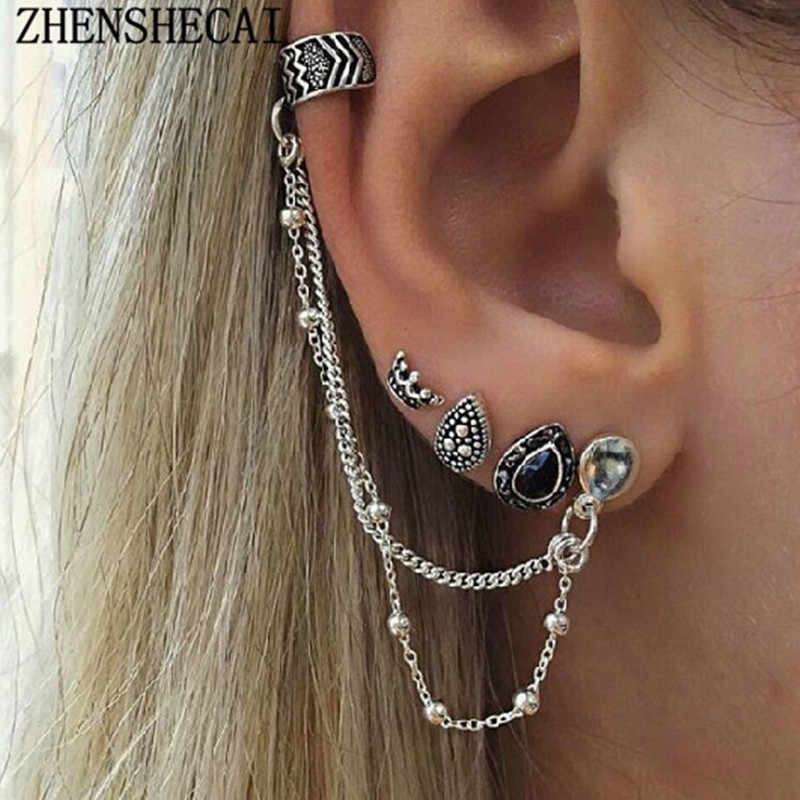 Vintage ethic Tassel ear clip sliver color ancient crystal leave drop earring jewelry for women girl 2017 hot new e0405