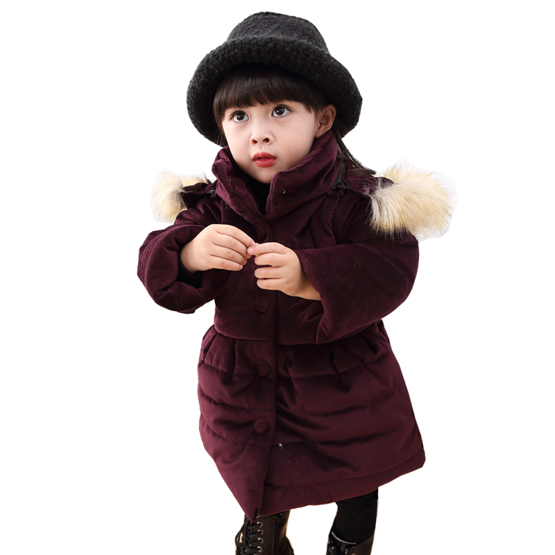 2018 New Children Coat Baby Girls Winter Jackets Fur Hooded Parkas Coats for Girls Clothes Warm Cotton Kids Outerwear Top fur hooded girls winter coats and jackets outwear warm long down jacket kids girls clothes children parkas baby girls clothing