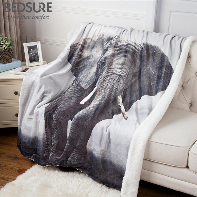 Bedsure Sherpa Double Layer Blanket 40D Printing Throw Blanket On New Elephant Print Throw Blanket