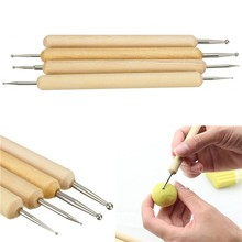 4pcs/set Ball Stylus Polymer Clay Pottery Ceramics Sculpting Modeling Wooden Handle Tools