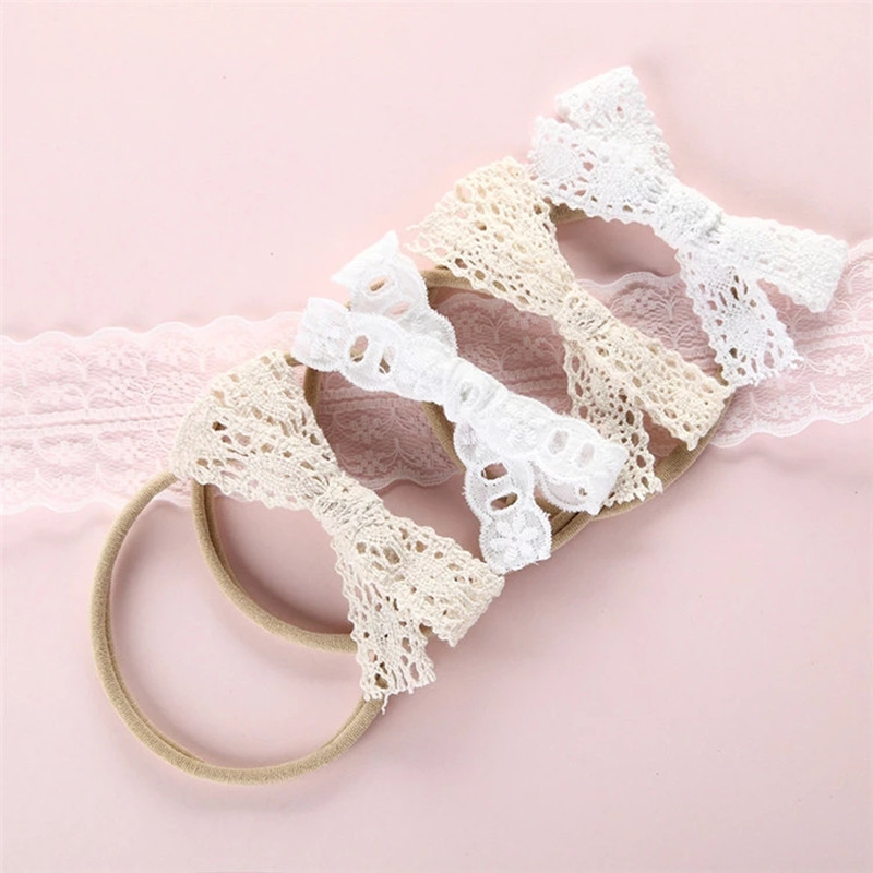 0-1-2-3-4-5-6Y Baby Soft Nylon Headbands Infant Girls Bow Lace Nylon Head Band High Elastic Kids Girls Headband Hair Accessories 50pcs lot 4 1 17colors shabby lace mesh chiffon flower for kids girls hair accessories artificial fabric flowers for headbands