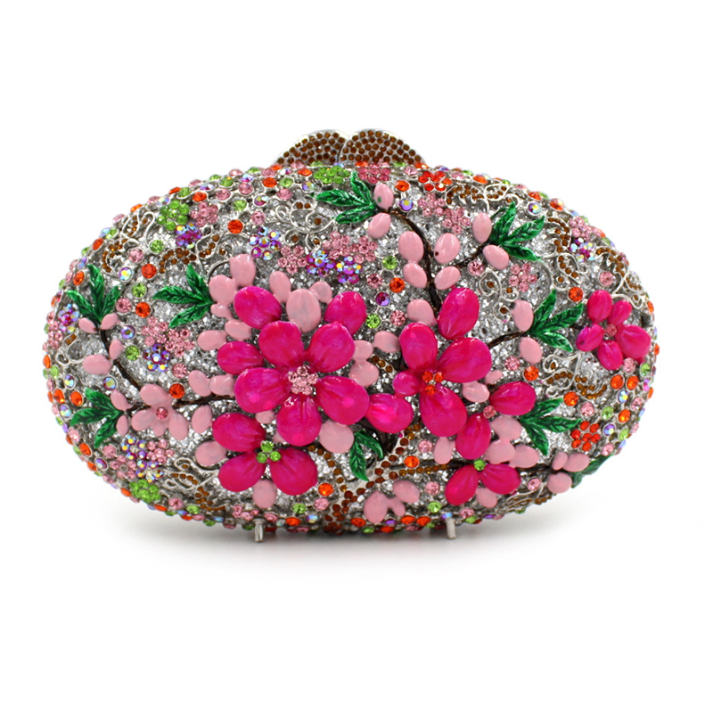 Luxury crystal clutch evening bag pink flower party purse women wedding bridal handbag pouch soiree pochette bag