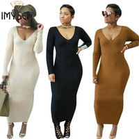 IMYSEN New Fall Winter Maxi Dress V-Neck Collar Long Sleeve White Dress Solid Brown Black Knitted Dress Empire Casual Vestidos