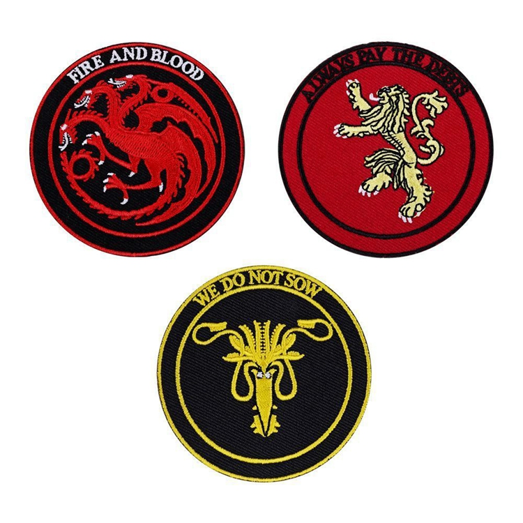 Game Of Thrones Figure Toys Embroidered House Stark Targaryen Dragons Sew On Iron On Patch Game Of Thrones Clothes Stickers Toys