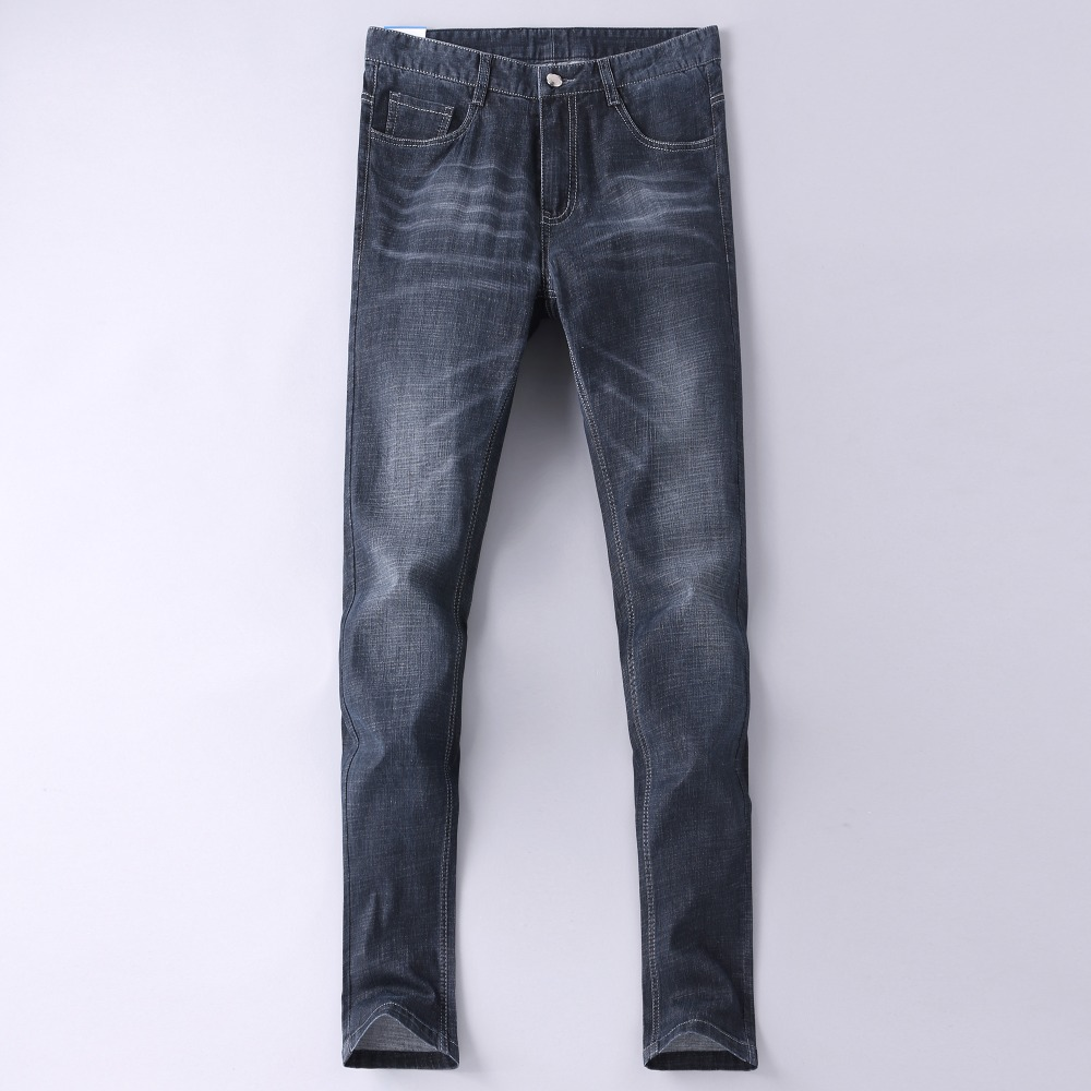Men Full Jeans 2018 New European and American Pop Mens Fashion Business Casual Jean Stretch Slim Trousers Male Denim Pants 1833
