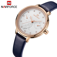 NAVIFORCE Luxury Brand Leather Quartz Watch Women Fashion Wrist Watch Wristwatches Simple Popular Female Clock Relogio Feminino