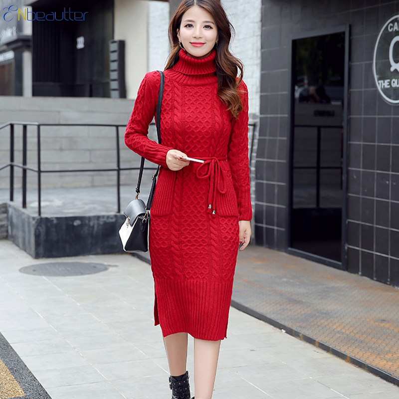 ENbeautter Knitted Thick Sweater Dress Women Winter Slim Midi Turtleneck Slit Long Pullover Women's Clothing New Fashion Casual