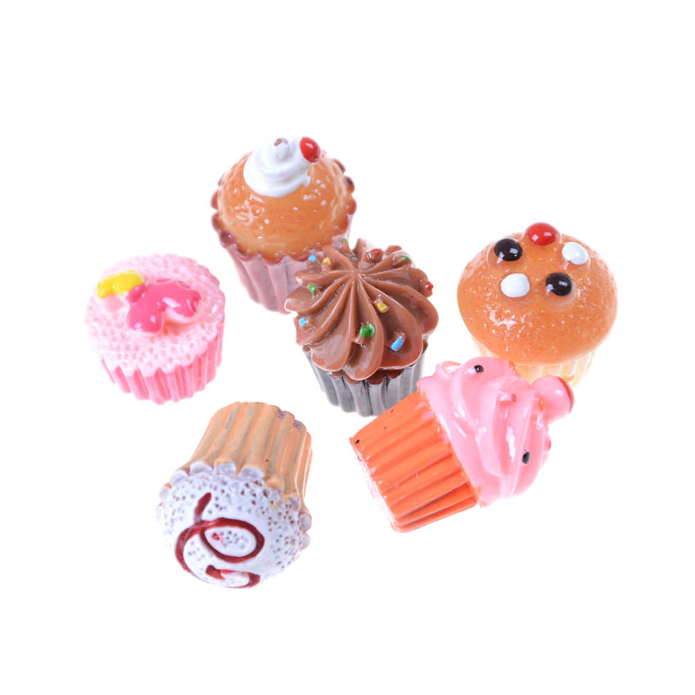 5PCS/Lot Dollhouse Miniature Mixed Food Set 1/12 Mini Food Cakes Donuts Candy Biscuit For  doll  Doll House Play Toys