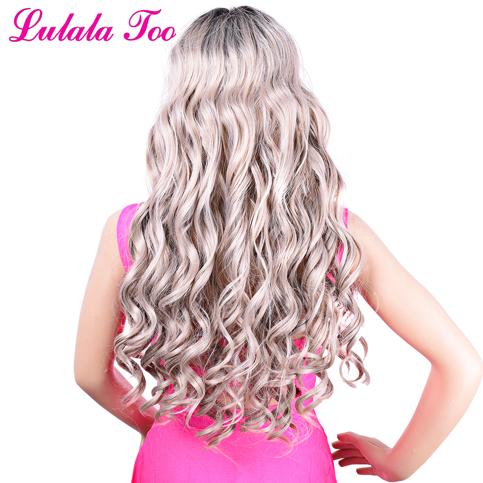 Ombre grey Long Natural Wavy Synthetic Lace Front Wigs For Women Heat Resistant Fiber Hair Half Hand Tied 30inch Daily Wig in Synthetic None Lace Wigs from Hair Extensions Wigs