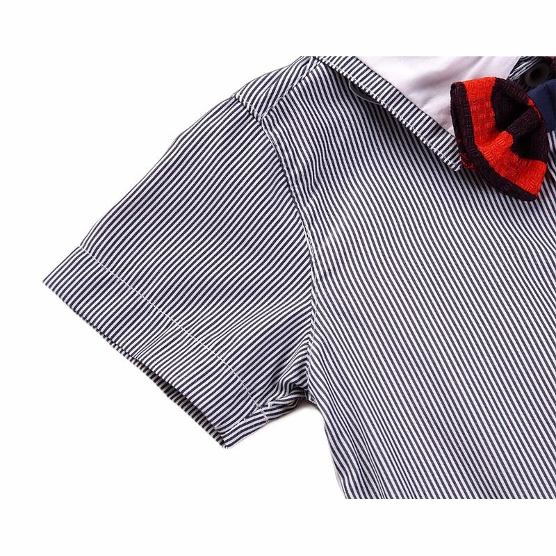 Baby Toddler Boy Little Gentlemen bow tie striped button down front shirt Shortalls set toddler boy party wedding birthday suit 5