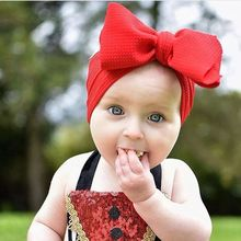 7 Inch Big Bow Headband For Girls 2019 Solid Large Hair Bows Elastic Turban Head Wraps Kids Top Knot Hairband Hair Accessories kids girls dot braided top knot twisted turban headband elastic for hair head bands wraps headbands accessories turbante wraps