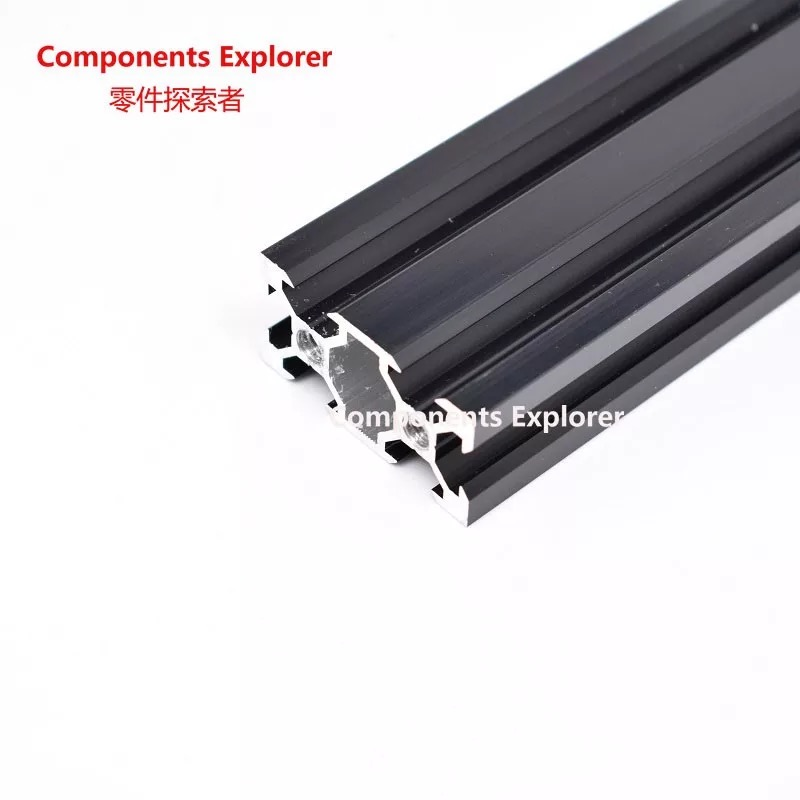 Arbitrary Cutting 1000mm 2040 V-slot Black Aluminum Extrusion Profile,Black Color.