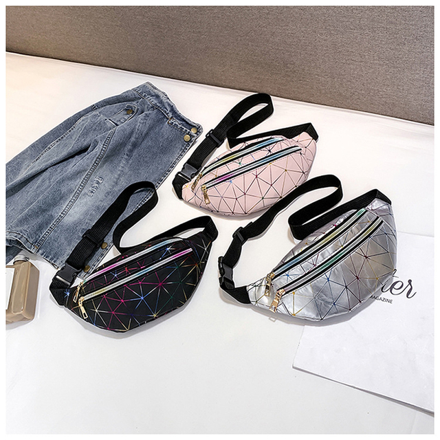 Women's Fashion Waist Packs Personalized Rock and Roll Color PU Leather Flashing Lattice Belt Bag Nerka Fanny Pack Luggage & Bags