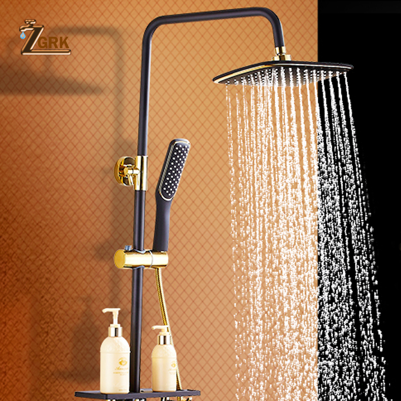 ZGRK Brass Black Bath Shower Faucets Rain Shower Head Bathroom Shower Set Diverter Mixer Valve Shower