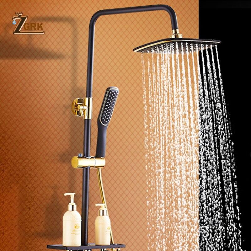 ZGRK Brass Black Bath Shower Faucets Rain Shower Head Bathroom Shower Set Diverter Mixer Valve Shower System Wall MountedZGRK Brass Black Bath Shower Faucets Rain Shower Head Bathroom Shower Set Diverter Mixer Valve Shower System Wall Mounted