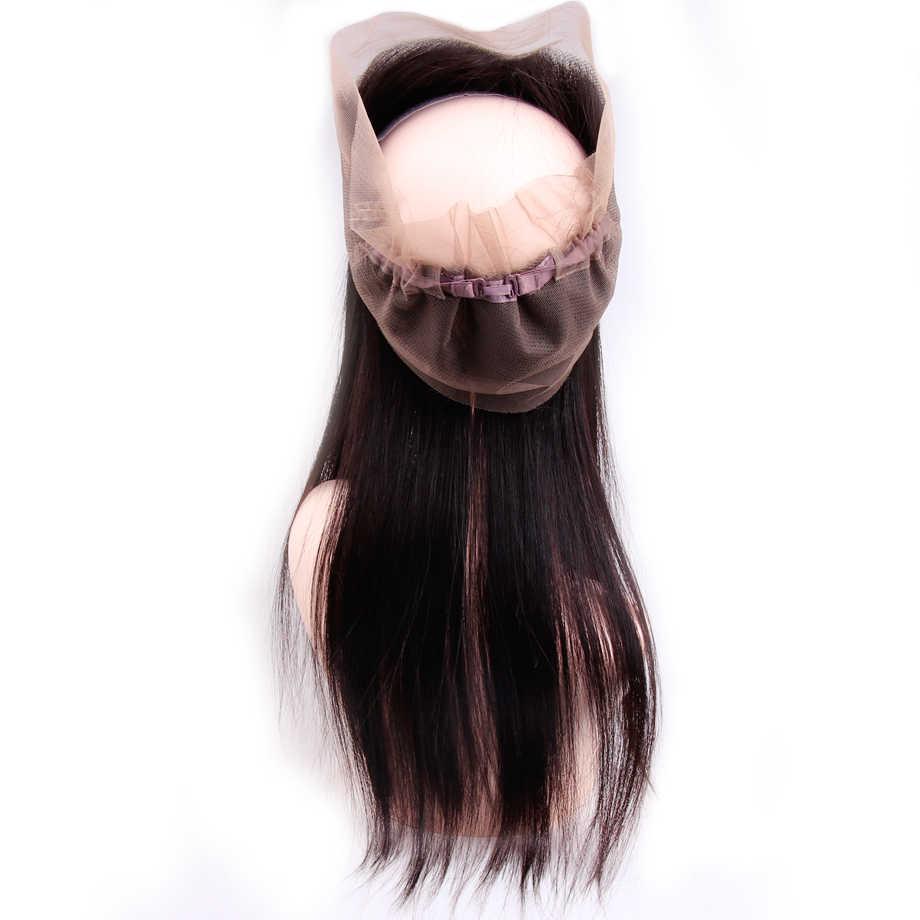 Brasileño recto 360 encaje cierre Frontal 100% cabello humano Cierre de encaje Remy pelo completo encaje suizo Color Natural envío gratis