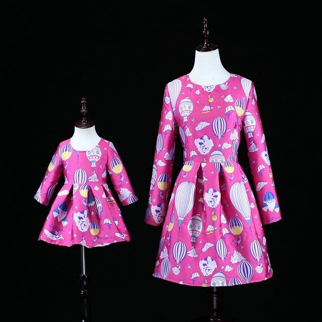 Mãe marca baby girl clothing infantil dos desenhos animados roupas festa birtyday vestido mãe olhar família mãe e filha vestidos de correspondência
