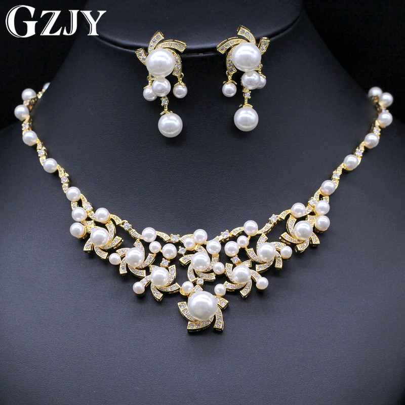 GZJY Gorgeous Simulated Pearl Bridal Jewelry Sets Crystal Gold Color Flower Necklace Earrings Sets Wedding Jewelry gzjy gorgeous red zircon bridal jewelry sets gold color flower necklace earrings ring bracelet sets wedding jewelry for women