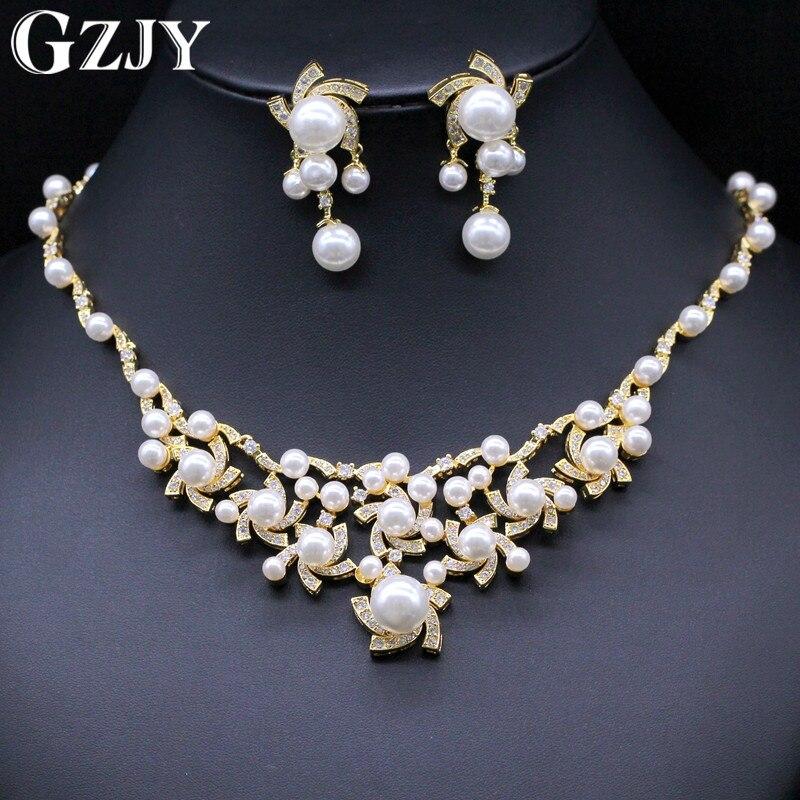 GZJY magnifique simulé perle bijoux de mariée ensembles cristal or couleur fleur collier boucles d'oreilles ensembles bijoux de mariage