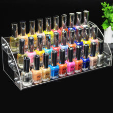 Clear Acrylic 3 Layers Nail Polish Rack Lipstick Holder Nail Polish Salon Exhibition Wall Makeup Tools Organizer Storage Shelf(China)