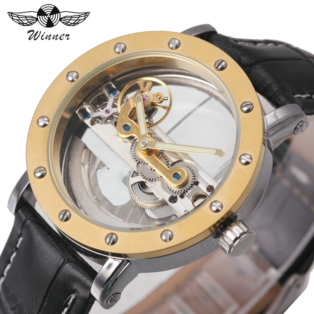2018 WINNER Classic Fashion Golden Bridge Men Auto Mechanical Watch Black Leather Strap Top Luxury Brand Design Wristwatch Gift winner men fashion black auto mechanical watch leather strap skeleton dial square shape round case unique design cool wristwatch