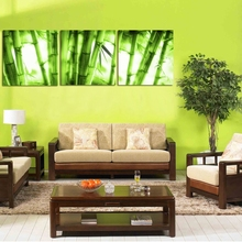 3 Pieces Wall Art Green Bamboo Canvas Printing Unframed Decorative Picture Living Rom Bedroom Office Decor