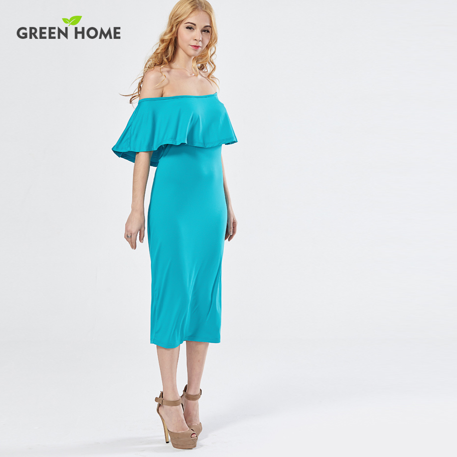 Green Home Elegant Tube Maternity Party Dress Mid Calf Summer ...