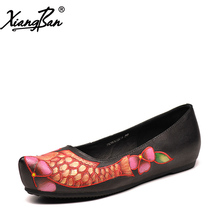Xiangban embroidered women flats shoes pointed toe leather ladies casual handmade shoes flat with
