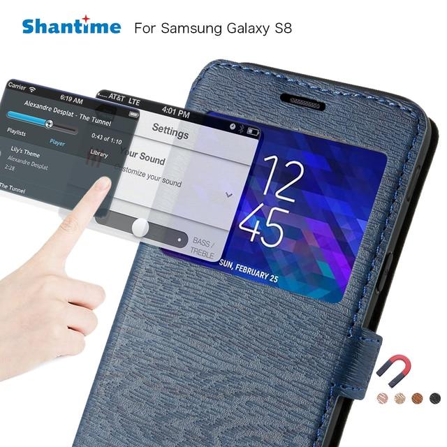Чехол для телефона из искусственной кожи для Samsung Galaxy S8 флип чехол для Samsung Galaxy S8 окном View Книга чехол Мягкий ТПУ Силиконовая задняя крышка