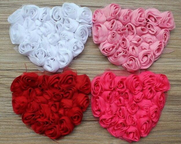 100 шт ко Дню Святого Валентина Шифоновый Цветок розы сердце аппликация для девочек футболки волосы платье одежда аксессуары