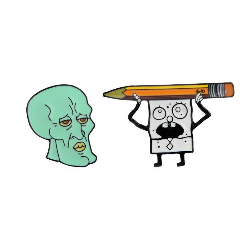 Dark Halloween restrictions Skull Doodle Bob Pencil Green Zombie Squidward Enamel Lapel Pin Brooches