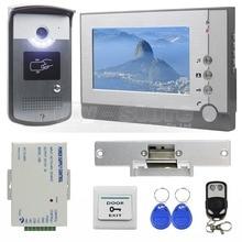 DIYSECUR Strike Lock 7 inch TFT Color Video Door Phone Visual Intercom Doorbell ID Unlocking RFID LED Night Vision Camera