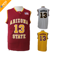 ASU James Harden Basketbal Jersey Arizona State University 13 # Wit/Rood/Geel Retro Throwback Gestikt Genaaid USA vlag Logo