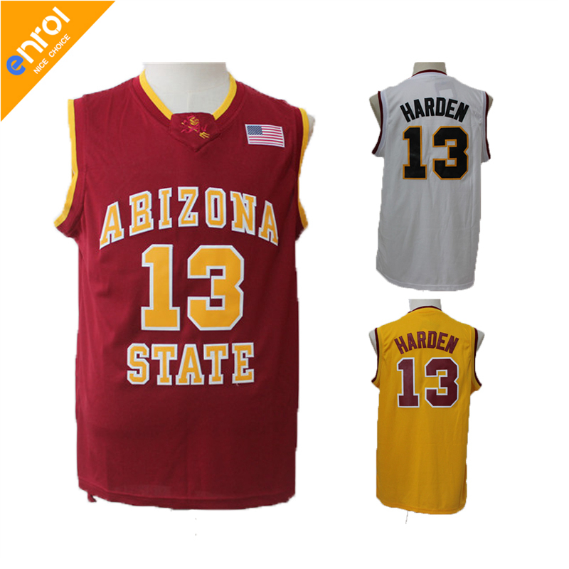 ASU James Harden Basketball Jersey Arizona State University 13 # Weiß/Rot/Gelb Retro Throwback Genäht Genäht USA flagge Logo