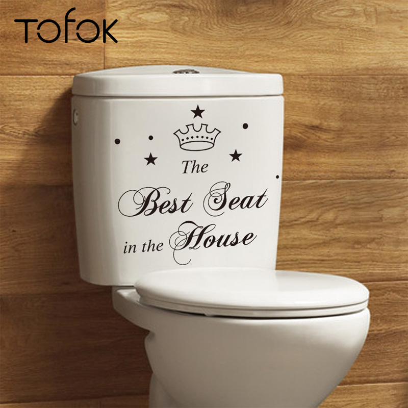 Tofok Bathroom Decal Creative Hot Sale Art Home Toilet vinyl Funny Wall Quote Sticker DIY Seat Decal Home Decoration Supplier