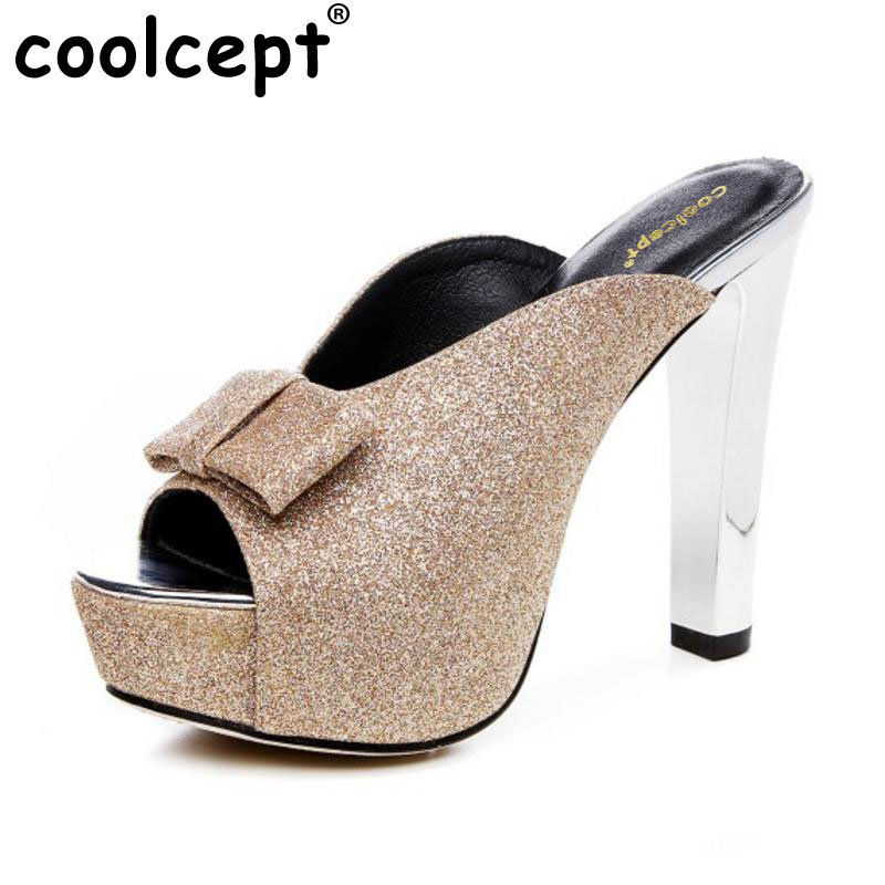 Coolcept Size 32-42 Brand High Heels Women Sandals Peep Toe Slip On Bling Thick Platform Top Fashion Causal Ladies Shoes Women
